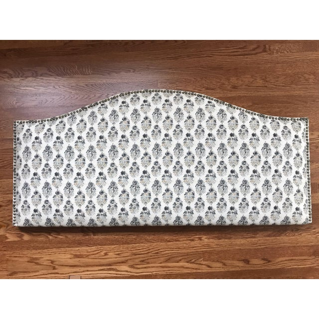 Petite Floral Patterned Upholstered Headboard For Sale - Image 4 of 4