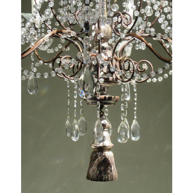 19th Century Italian Baroque Silver Leaf and Crystal Chandelier with Tassel For Sale - Image 9 of 10