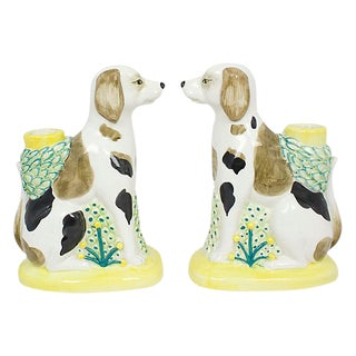 Italian Pottery Hound Candleholders - a Pair