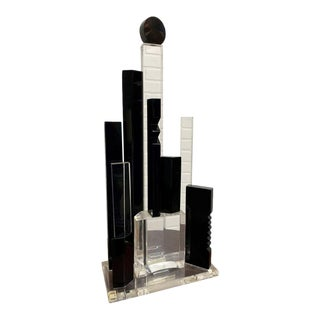1990s Lucite Skyscraper Sculpture by Van Teal For Sale
