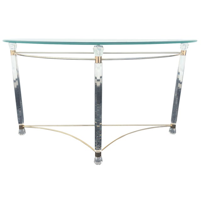 Lucite & Brass Sofa Table - Image 1 of 7