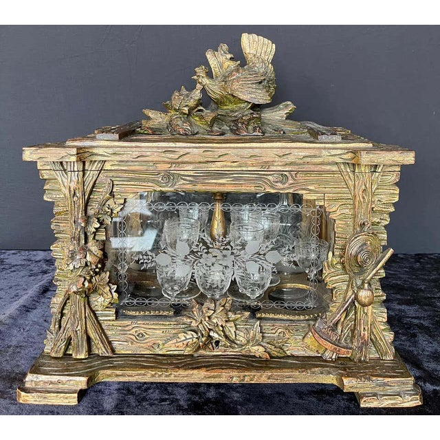 19th Century Black Forest Tantalus Bar For Sale - Image 12 of 13