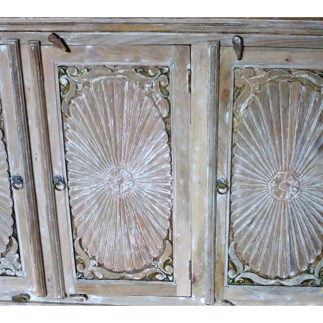 1990s 1990s Vintage Wooden Carved White Wash Cabinet For Sale - Image 5 of 7
