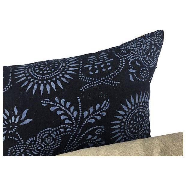 Black & Blue Indigo Batik Pillows - Pair - Image 2 of 5