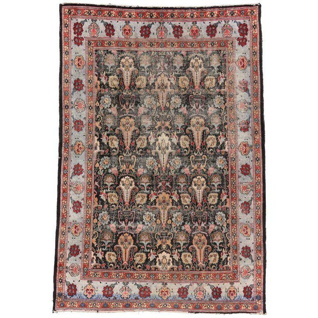 Textile Distressed Antique Persian Khorassan Rug with Mid-Century Modern Style For Sale - Image 7 of 7