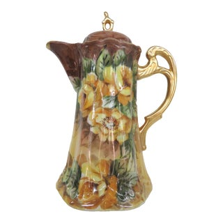 Hand Painted Porcelain Yellow Flowers Vintage Tea Chocolate Pot Pitcher For Sale