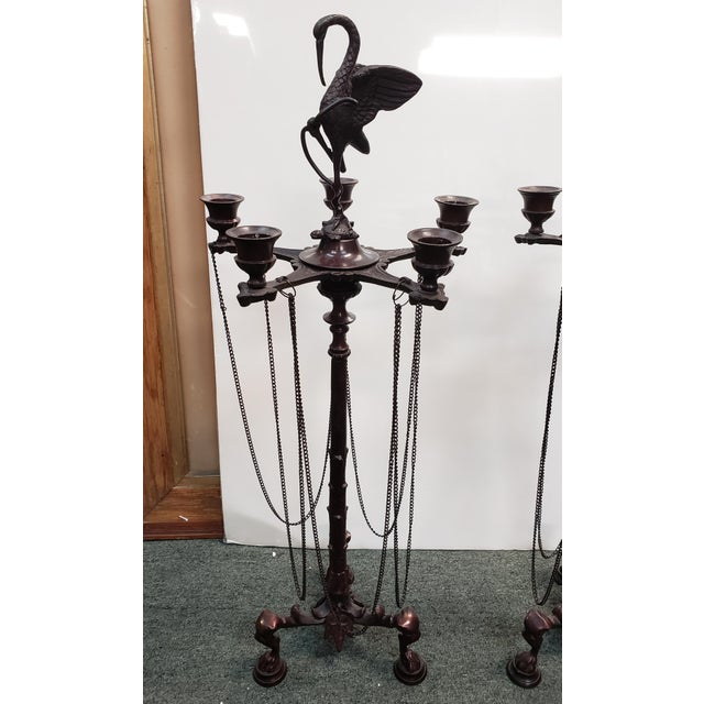 """Up for sale is a Pair of Mid 20th Century French Neo-Grecian Style Bronze Alloy Candelabras! They each measure 23 7/8""""..."""