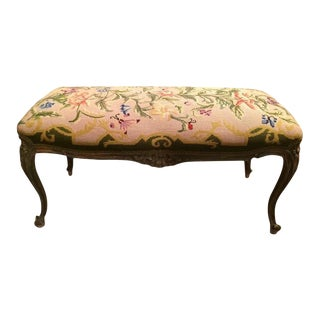 French Style Aubusson Needlepoint Bench For Sale