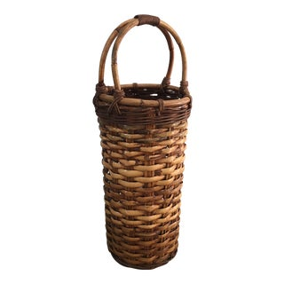 Vintage Woven Wicker Umbrella Basket For Sale