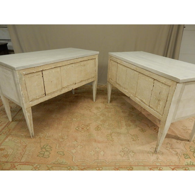Late 19th Century Pair of Antique Painted Louis XVI Style Commodes For Sale - Image 5 of 12