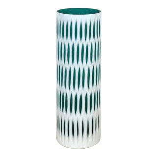 Mid-Century Modern Carved Patterned Flashed Glass Vase For Sale
