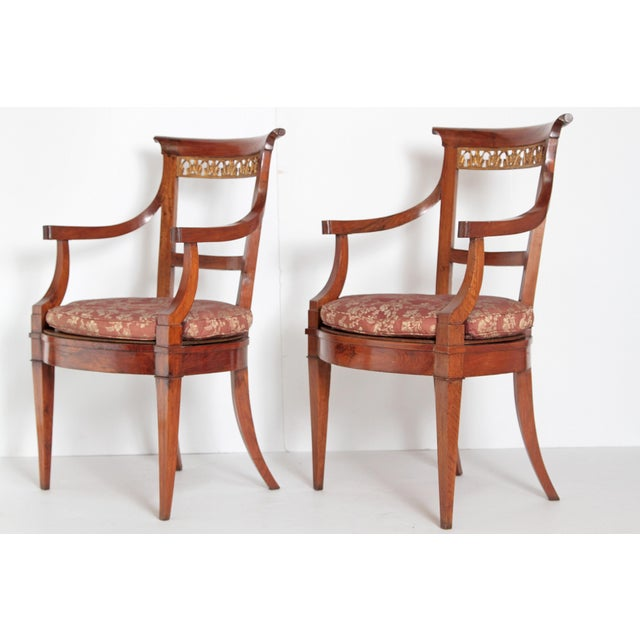 Early 19th Century Pair of Italian Neoclassical Armchairs For Sale - Image 5 of 13