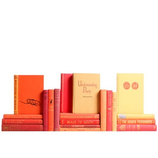 Mid-Century Orange & Red Books - Set of 20