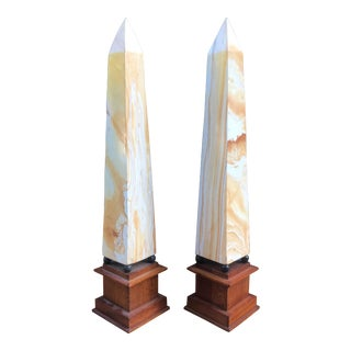 Vintage Neoclassical Solid Stone Mounted Obelisks -A Pair For Sale