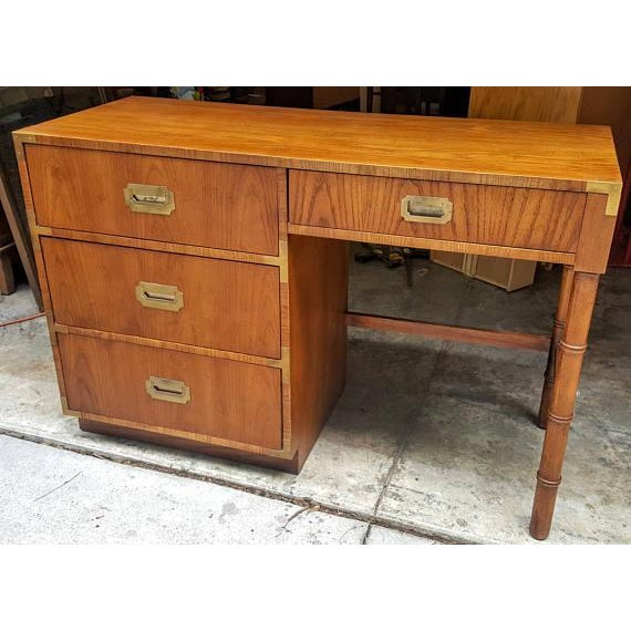 Campaign Mid-Century Dixie Campaign Style Desk For Sale - Image 3 of 7
