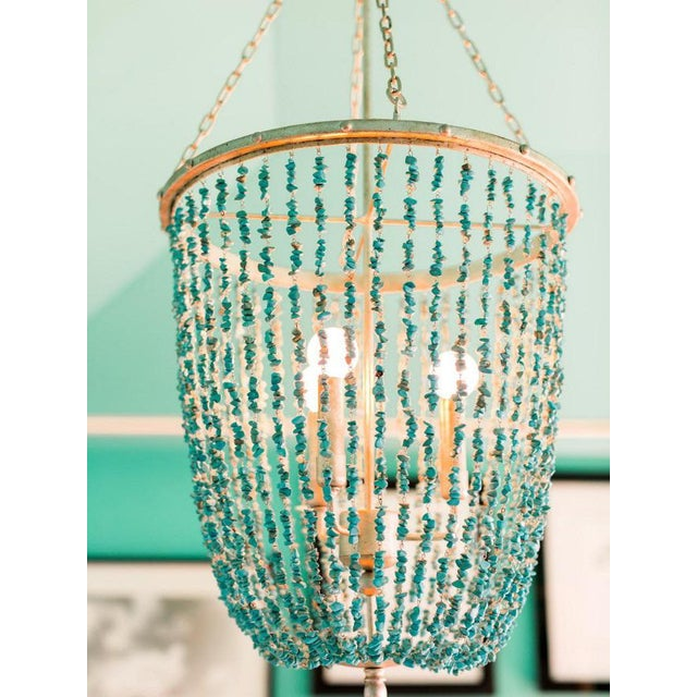 Ethan allen turquoise beaded valerie chandelier chairish ethan allen turquoise beaded valerie chandelier image aloadofball Gallery