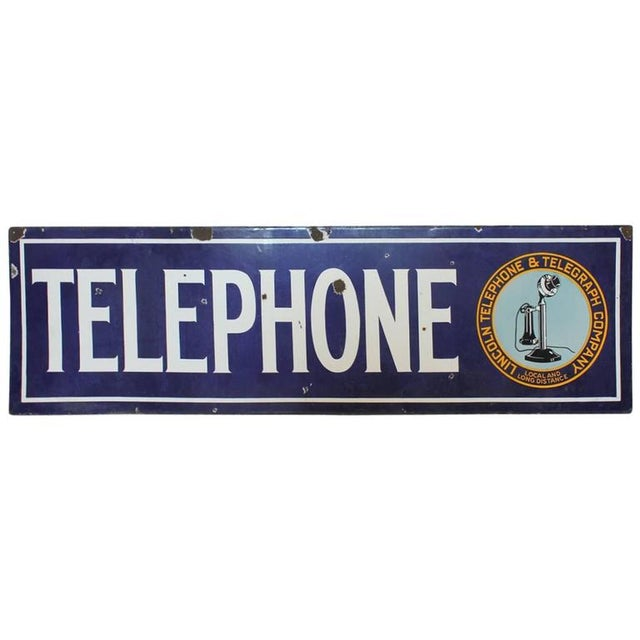 Large 1920s Lincoln Telephone and Telegraph Company Sign. Porcelain and double-sided.