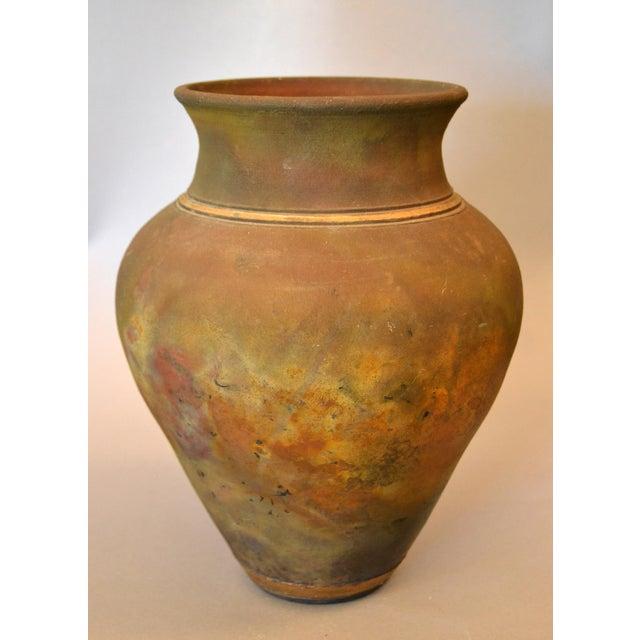 Signed Mid-Century Modern Brown, Blue & Gold American Raku Vase, Vessel, Urn For Sale - Image 13 of 13