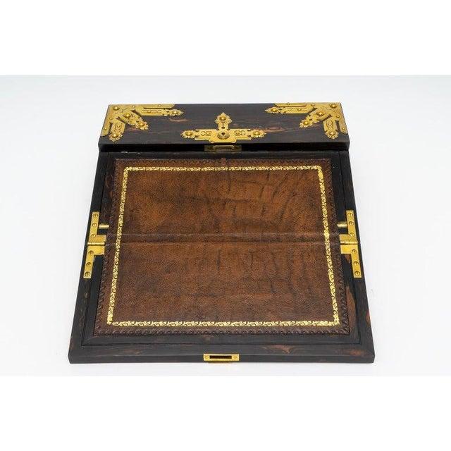 1880s Edwardian Brass & Wood Traveling Lap Desk with Original Key For Sale - Image 12 of 13