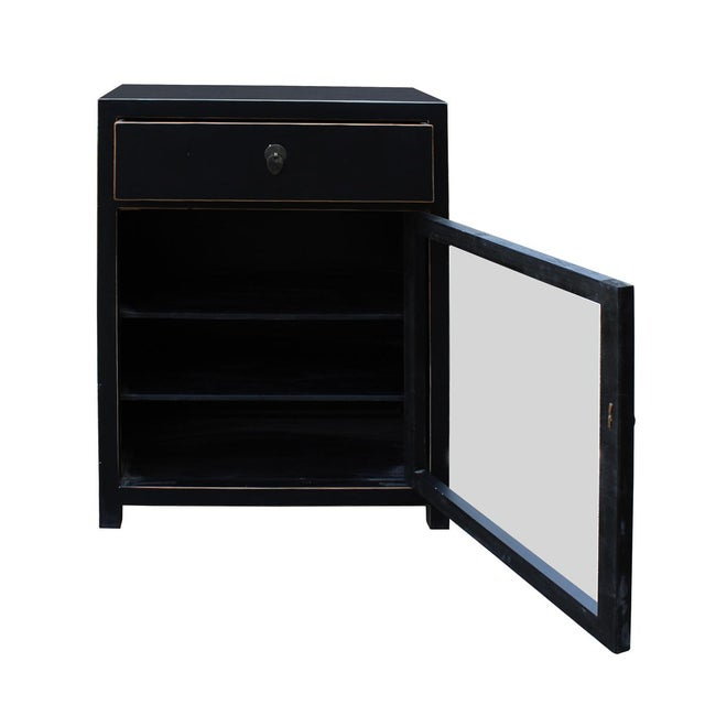 Black Lacquer Asian Contemporary Side Table Cabinet - Image 5 of 5