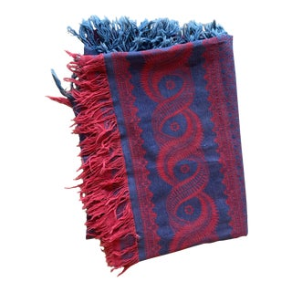 Early 20th C. Woven Cotton Vintage Tablecloth Blue and Red For Sale