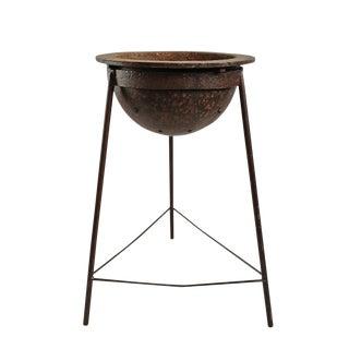 Vintage Iron Cauldron on Stand For Sale