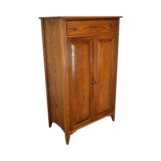Custom Quality Solid Oak Gentlemens Chest Bedroom Armoire Cabinet For Sale