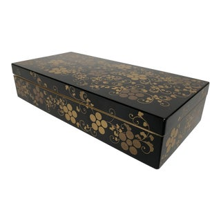 1970s Asian Modern Black and Gold Lacquer Lidded Box For Sale