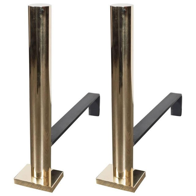 Pair of Custom Modernist Polished Brass Cylindrical Form Andirons For Sale - Image 9 of 9