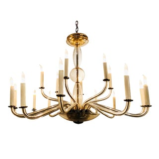 Multi-Arm Murano Smoke Glass Chandelier For Sale