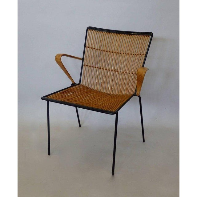 Rattan Wrought Iron Frame Franco Albini Style Rattan Chair For Sale - Image 7 of 10