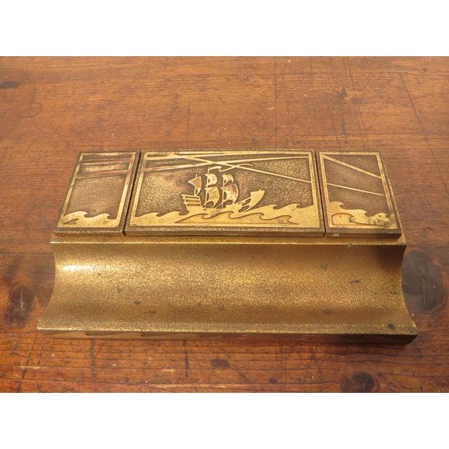 Antique Art Deco Silver Crest Bronze Desk Inkwell For Sale - Image 11 of 11