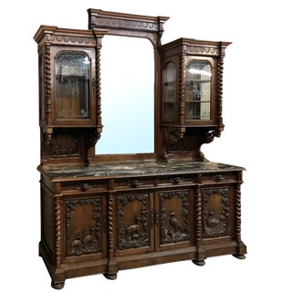 Grand 19th Century Italian Renaissance Walnut Marble Top Two-Tiered Hunt Buffet For Sale