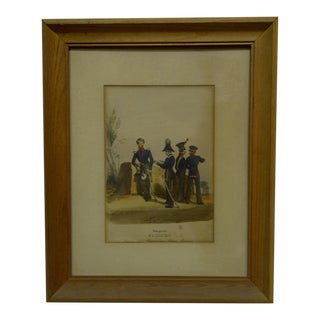 """Vintage 1850s Hand-Colored """"Sachsen"""" Framed & Matted Print For Sale"""