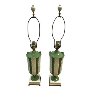 Mid 20th Century Lenox Lamps in Ivory and Apple Green With Leaf Detail - a Pair For Sale