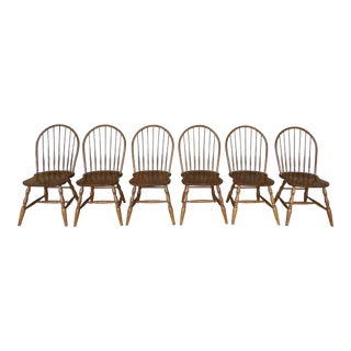 Martin Chair Co. Set of 6 Oak Hoop Back Windsor Style Side Chairs