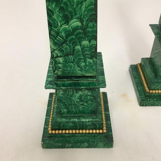 Faux Painted Malachite Obelisks - a Pair - Image 2 of 6