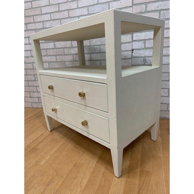 Made Goods Jarin double nightstand. White. Fully finished in our faux Belgian linen, this simple, rectangular piece...