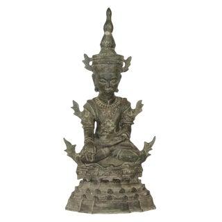 19th Century Antique Bronze Thai Seated Buddha Statue For Sale