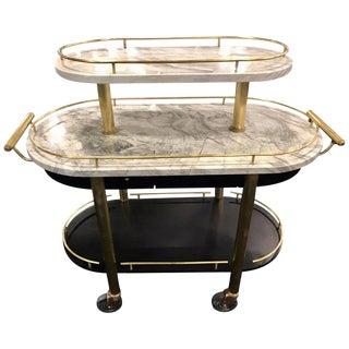 French Art Deco Three-Tier Brass and Carrera Marble Bistro Cart For Sale