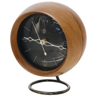 Nelson Chronopak Orb Round Ball Shape Turned Walnut Desk Clock For Sale