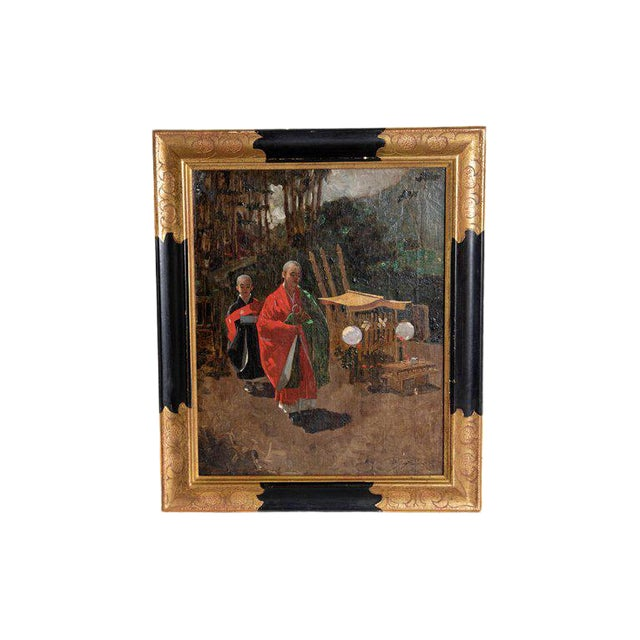 Late 19th Century Francis Neydhart Oil on Canvas Japanese Monks in a Landscape For Sale