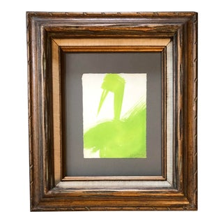 Vintage Original Robert Cooke Abstract Green Duck Painting 1970's For Sale