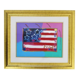 Contemporary Modern Framed Peter Max Flag With Heart Signed Mixed Media For Sale