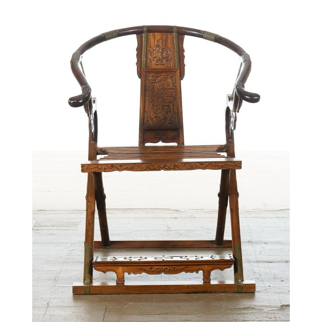 Asian Chinese Carved Horseshoes Folding Chairs - a Pair For Sale - Image 3 of 10
