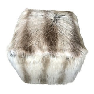Modern Faux Fur Cube Stool For Sale