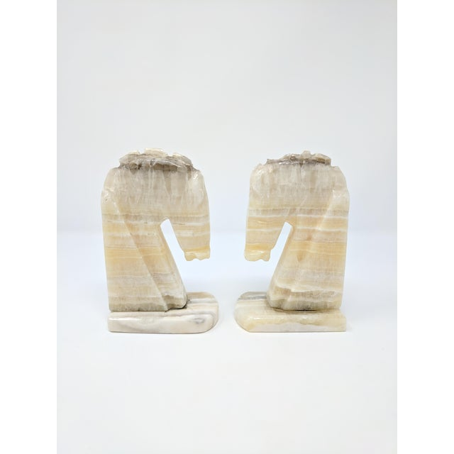 Art Deco Alabaster Horse Bookends - a Pair For Sale - Image 4 of 7