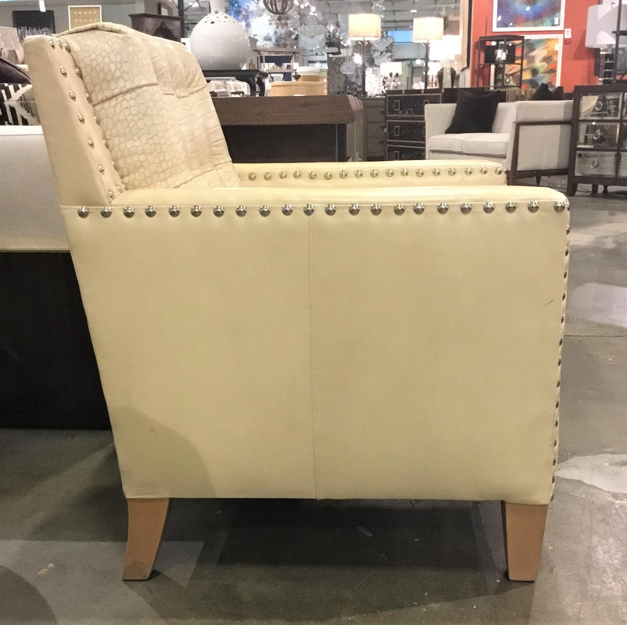 Stylish Modern Leather Craft Co. Embossed Alligator Print Leather Club Chair  In A Rich Cream