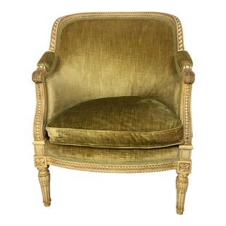 1930s French Green Velvet Carved Barrel Chair For Sale