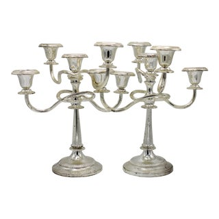 Late 19th Century English Silver Plated Candelabras - a Pair For Sale